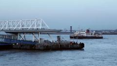 Mersey ferry arriving at seacombe ferry terminal, wirral Stock Footage