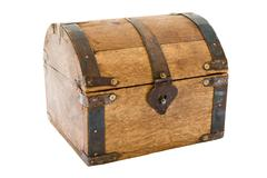 Old Treasure Chest Isolated on a White Background Stock Photos