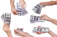 Collection of hands holding dollars isolated on white background Stock Illustration