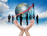 Hands hold silhouettes of business with blue graph Stock Illustration