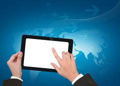 Stock Illustration of hand holding a touchpad pc with white screen
