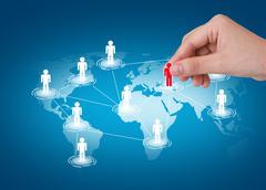 Hand pick red man of social network Stock Illustration