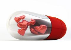 red love pills inside capsule 3d illustration isolated on white background - stock illustration