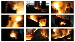 Hard work in a Foundry, split screen Stock Footage