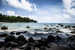 Neil island beach and blue sky with white clouds, andaman islands - india Stock Photos