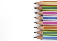 Stock Photo of colorful pencils with eraser end - isolated on the white background