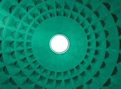 pantheon dome ceiling pattern and hole, rome italy. - stock photo