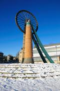 Radstock Miners Memorial Wheel in Snow - stock photo