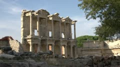 History & culture, Ephesus ruins, The library of Celsus WS Stock Footage