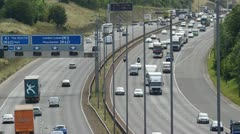 Time lapse rush hour traffic traveling on the A1/M motorway Leeds, UK Stock Footage