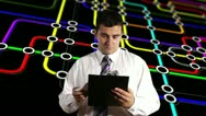 Young Businessman Checking Contract Network BG Stock Footage