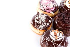 donut with chocolate and peanut - stock photo