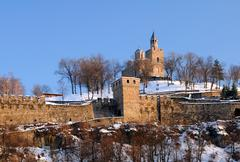 tsarevets stronghold in the winter - stock photo