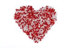 Red and white stars heart shape isolated on white background Stock Photos