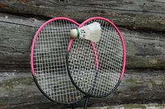 Badminton rackets and ball Stock Photos