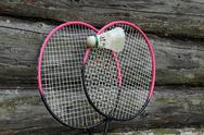 Stock Photo of badminton rackets and ball
