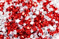 red and white stars heart shape isolated on white background - stock photo