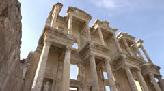 History & culture, Ephesus ruins, The library of Celsus low angle wide Stock Footage