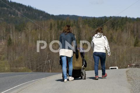 Stock photo of long road