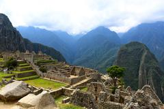 ancient lost city machu picchu - stock photo