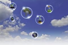 eco concept : business hand point tree, earth flower in bubbles against the s - stock illustration