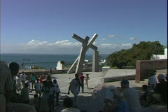 Salvador de Bahia, Brazil, main square, public art Stock Footage