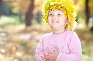 Beautiful little girl in a wreath of maple leaves in autumn forest Stock Photos