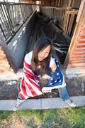 patriotic asian woman - stock photo