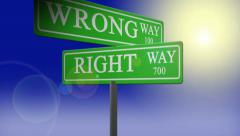 Right way wrong way street sign absract art road animated background motion Stock Footage