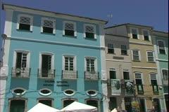 Salvador de Bahia, Brazil, Portuguese architecture, houses on street, close Stock Footage