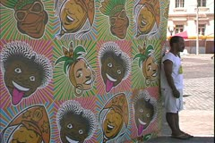 Salvador de Bahia, Brazil, Carnaval, Carnival, posters of Carmen Miranda Stock Footage