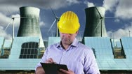 Young Engineer Making Notes Energy Concept Stock Footage