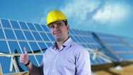 Young Engineer Satisfied Thumbs Up Energy Concept Stock Footage