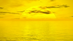 Sunset over ocean - 3D render - stock footage