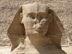 frontal sphinx detail - stock photo