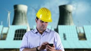 Young Engineer SmartPhone Energy Concept Stock Footage