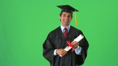 East Indian college graduate on greenscreen Stock Footage