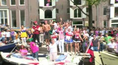 Gay Pride Canal Parade Amsterdam 2012 Stock Footage