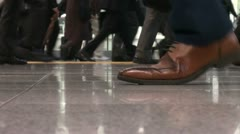 Commuting passengers, shoes and legs, Tokyo station, Japan Stock Footage