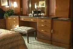The Queen Mary, 1934, ocean liner, deluxe suite, bedroom, dressing area Stock Footage