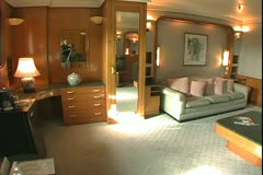 The Queen Mary, 1934, ocean liner, deluxe suite used by Duke and Duchess Stock Footage