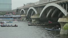 Diamond Jubilee boat procession on the River Thames in London Stock Footage