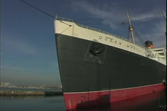 The Queen Mary, 1934, ocean liner, bow, distorted slightly - stock footage