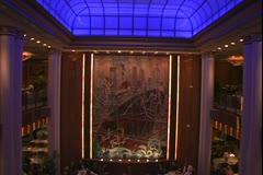 Queen Mary 2 ocean liner, Britannia Restaurant at night, blue ceiling - stock footage