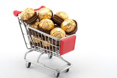 Stock Photo of chocolates in shopping cart