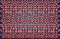 Background cartoon hearts on blue paper Stock Illustration