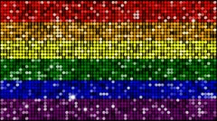 Rainbow flag- seamless looping with reflectors and sparkles - stock footage