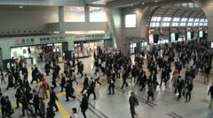 Tokyo railway station commuting business people suits crowd crowded busy Stock Footage