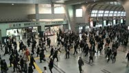 Stock Video Footage of Tokyo railway station, commuting, business, people, suits, crowd, crowded, busy