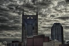 Batman Building in Stormy Weather (HDR) - stock photo